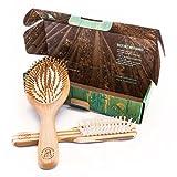 Ein Haarbürsten-Set mit natürlichen Bambusfasern von Marbeian. Die beste Bürste für alle Haartypen bei Männern und Frauen zum sanften Entwirren der Haare