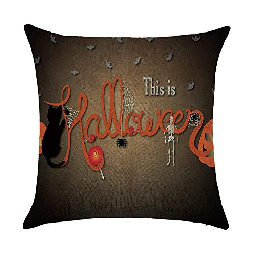 ARTOPB Halloween Cushion Covers Jack-O'-Lantern Bat Moon Spider Painting 120g Thick Cotton Linen Double-Sided 18x18 inches 45x45cm Throw Pillow Cases for Home Sofa Bed Decorative
