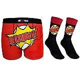 The Big Bang Theory - Set de calcetines para traje y calzoncillos de tipo bóxer - Producto oficial - Negro Bazinga - Large