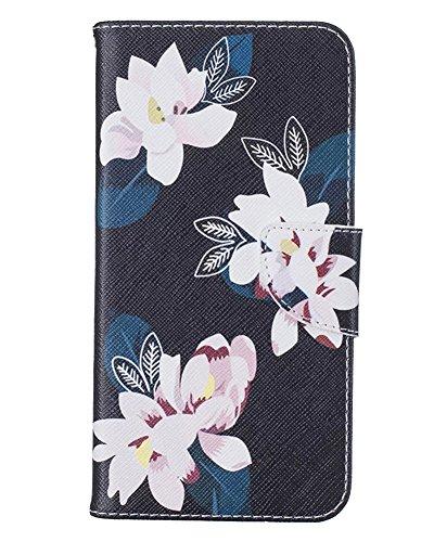 LaoZan Housse iPhone, Floral Etui À Rabat Portefeuille PU Cuir avec Béquille, Portefeuille Blocage Flip Cover