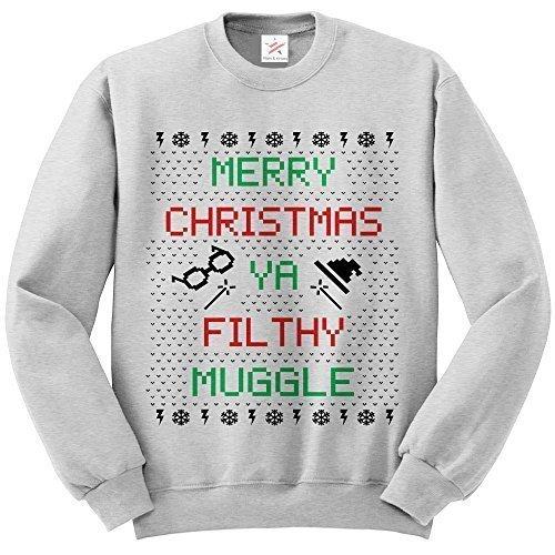 Merry Christmas Ya Filthy Muggle Hogwarts Forever Collectibles-Felpa a maniche lunghe da donna, motivo stampato Felpa Sweatshirts, maglioni e felpe Grigio cenere Large