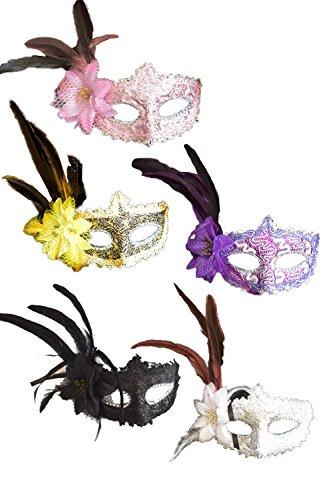 hen Maskenball Masken Feder Halloween Party 5 - Packung set5p One Size (Schwerpunkt Kostüm)