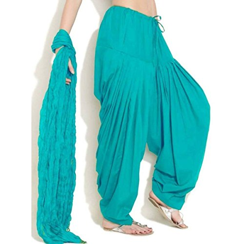 Monique Women\'s Cotton Solid Patiala Salwar with Dupatta Set (MONIQCPD81RG, Rama Green, Free Size)