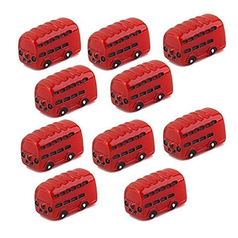 Lot de 10pcs Bus Rouge Miniature Décor pour Micro Paysage Jardin de Fée Bonsaï Bricolage