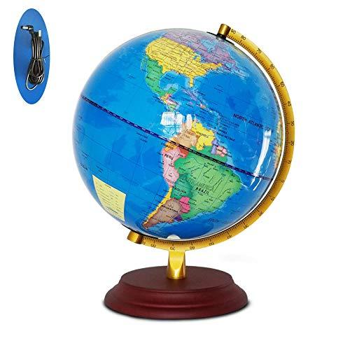 TIKENBST 25CM Beleuchtete Globe LED Light / 2 In 1 / Tag Und Nacht - Beleuchtet Ohne Kabel - Physikalische Und Zoo-Doppelkarte - Bildungs- Und Spaß Für Schulkinder,Blue