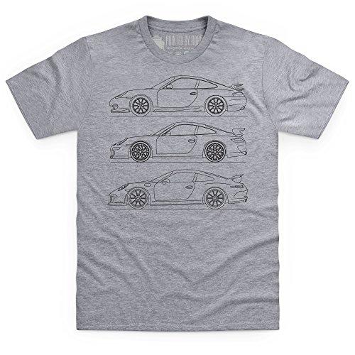 Nine Eleven GT3 Sports Car T-shirt, Uomo Grigio mlange