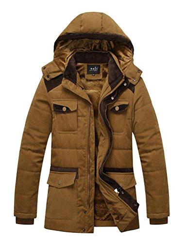 Vogstyle Herren Kapuzenparka Winterjacke Winter Mantel Jacket mit Futter Warm Abnehmbare Hoodie Parka Wintermantel Herrenmantel Art 1 Braun