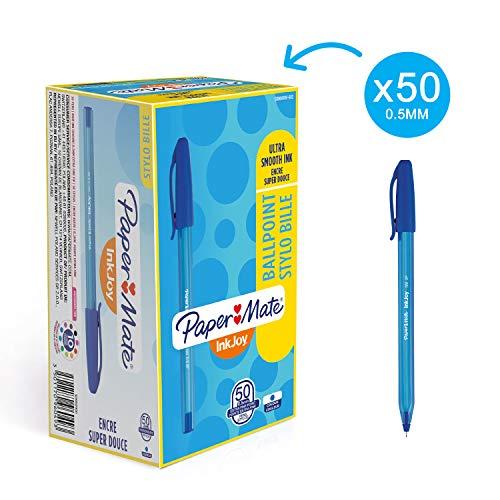 Papermate inkjoy 100, penna a sfera con cappuccio, punta ultra fine, confezione da 50, blu