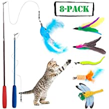 Wineecy [8 in 1] Gato Juguete Interactivo Cat Varita, 2 Varita Retráctil con