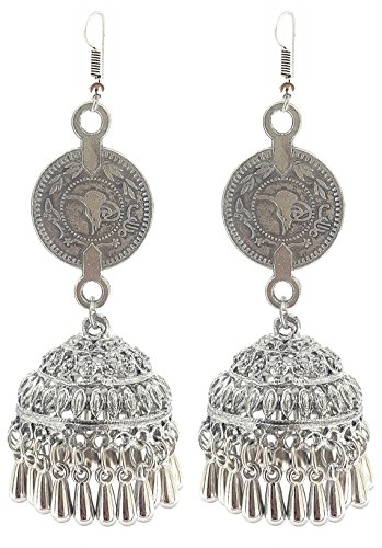 YouBella Jewellery German Silver Oxidised Fancy Party Wear Victoria Coin Jhumki Earrings for Girls and Women  available at amazon for Rs.275
