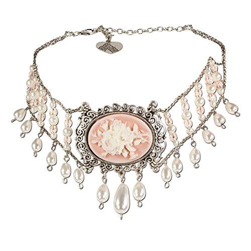 Alpenflüstern Trachten-Collier Rosalie - nostalgische Trachtenkette aus Perlen - Damen-Trachtenschmuck Dirndlkette apricot DHK125