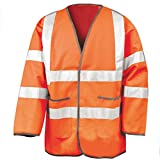 Chaqueta de Seguridad Ligera - Alta Visiblidad - 2 Bolsillos Frontales Grandes - Norm: EN 20471 (2XL, Naranja)