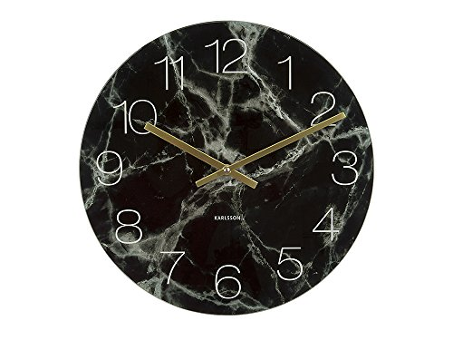 Horloge Karlsson Small en verre effet marbre noir Cod. 7075