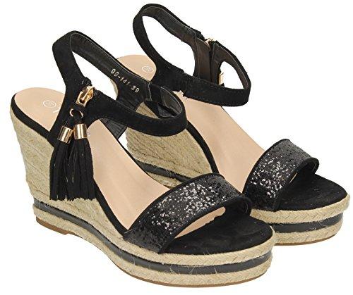 Audrey Damen Damen Espadrilles Keil High Heels Sandalen Party Sommer Ankle Strap Beach Shoes Größe–SwankySwans Schwarz