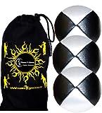 3x Palline da Giocoliere Pro - Set di 3 palline da giocoliere Deluxe (Cuoio / PU) + borsa per il trasporto. Nero con Bianco.