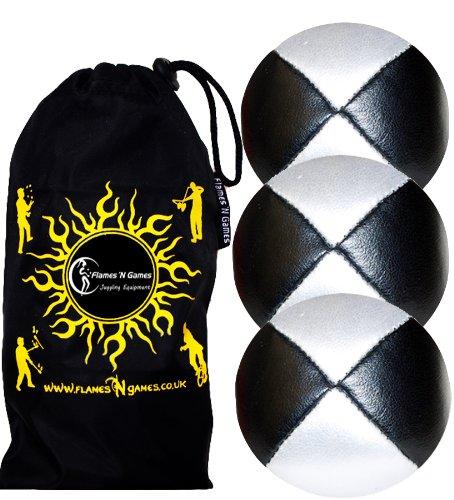 Jonglierbälle 3er Set - Profi Beanbag Bälle aus Glattleder (Leather)+Tasche. Set Ideal Für Anfänger Wie Auch Für Profis. (Schwarz/Weiß)