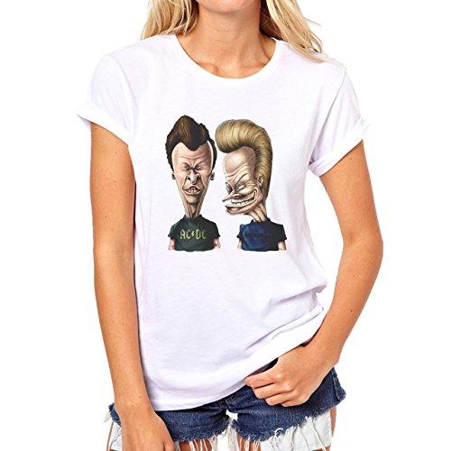 Beavis And Butthead Drawing Freaky Design Damen T-Shirt Weiß