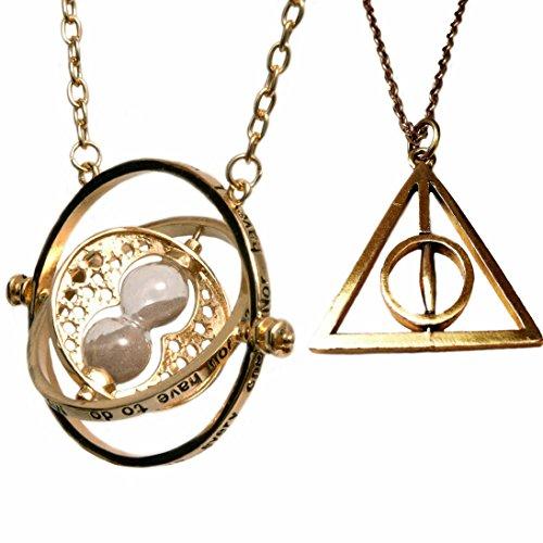 H&H UK Zeitumkehrer-Halskette, Zauberei-Gegenstand, Falcao, Horcrux, Sanduhr-Anhänger, in Samtbeutel - 08 Gold ()
