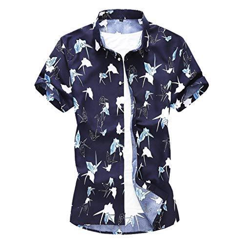 Innerternet Funky Hawaiihemd Sommer Printed Button Freizeit Kurzarm Hawaii-Print Strand T-Shirt Top Bluse Druckten Sommer-beiläufige Kurze Hülsen-T-Shirts T-Stücke