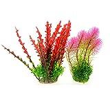 Saim 2Pcs Künstliche Wasser-Aquarium Pflanzen Kunststoff, Fake Pflanzen rot, Farn Nadelbäume Rosa Wasser Gras Aquarium Pflanzen Aquarium Dekoration