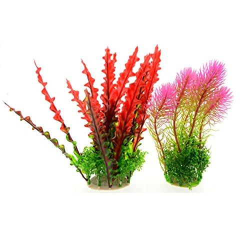Saim 2pz artificiale acquatiche piante acquario plastica pianta falso piante rosso conifere felce rosa acqua erba Fish Tank piante acquario decorazioni