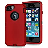 Xylo® Dual Protect Heavy Duty Dust/Shock Proof Case Cover For Apple iPhone SE, 5S & 5 With Built In Screen Protector - Red & Black