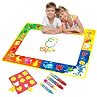 Vidillo Water Doodle Mat, Water Drawing Mat Kids Toys Large Magic Toddlers Painting Board Writing Scribble Boards with 4 Magic Pen and Draw Templates for Boys Girls Size 29 x 19 (Fruit)
