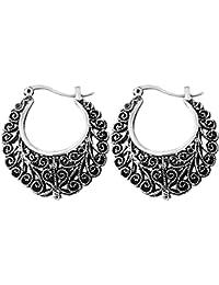 Shining Diva Fashion Jewelry Oxidized Silver Bali Stylish Fancy Party Wear Traditional Earrings For Women & Girls(Antique Silver)(9475er)