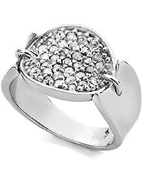 Jorge Revilla Plata Marrón Diamante Fancy Anillo - Rhodium Plated - Size L 1/2