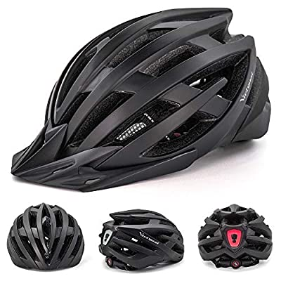 VICTGOAL Bike Helmet with Safety USB Rechargeable LED Light Adult Bicycle Helmet Detachable Sun Visor Cycling Mountain & Road Cycle Helmets for Men Women by Victgoal