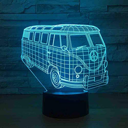 GZGNL Land Bus 3D Lampe 7 Farbwechsel Fernschalter Kleine Nachtlicht Farbige Lichter Atmosphäre Lampe Schlafzimmer Licht Für Geschenk -