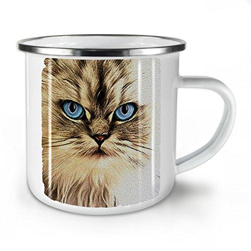 Wellcoda persisch Niedlich Gesicht Auge Katze Emaille-Becher, Flauschige - 10 Unzen-Tasse - Kräftiger, griffiger Griff, Zweiseitiger Druck, Ideal für Camping und Outdoor - Persischen Becher