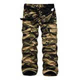 crazy player Herren Winter Thermohose Camouflage Cargohose Warm Fleece gefüttert Arbeitshose aus 100% Baumwolle Loose Fit mit Reißvertschluss 6 Taschen in Schwarz Army-Grün, Khaki