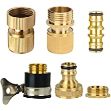 Set of Brass Garden Hose Expandable Stretch Fittings Tap Adaptors Connectors