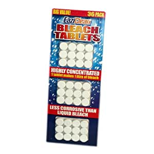 36 x BLEACH CLEANING CONCENTRATED TABLETS CISTERN TABLET 1 LITRE LAUNDRY TOILET