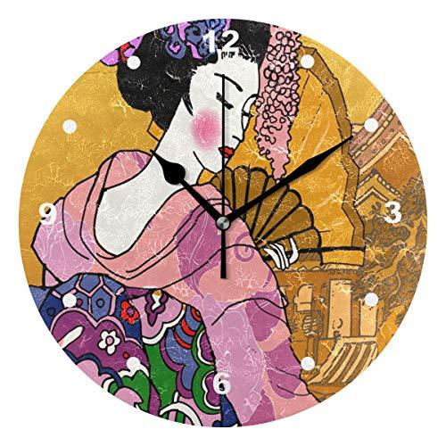 SUNOP Uhr für Kinder, mit Öl Bedruckt, 1 japanischer Tanz-Geisha, Wanduhren für Wohnzimmer, Schlafzimmer und Küche, Vintage Schreibtisch & Regal Uhren