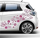Autoaufkleber Blumen Schmetterlinge Set 75 Teile - 60 Farben zur Auswahl! Hibiskus Schmetterling - pink