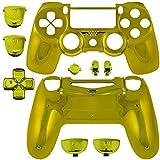 GAMINGER Austauschgehäuse für Sony PlayStation 4 Dualshock 4 Controller Schale Shell Case Housing Kit Hülle Set Skin Zubehör Custom Mod Tuning - CHROMEGOLD