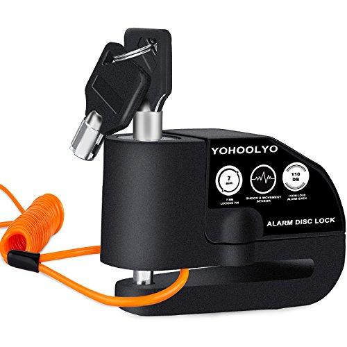 YOHOOLYO Candado Disco Moto con Alarma 7mm 110DB Antirrobo Alarma Moto con Cable Enrollado 1.2 Metros