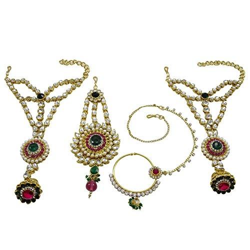 Banithani Concepteur De Bollywood Indian Collier De Mariée Mariage Fixé Bijoux Traditionnels vert et violet