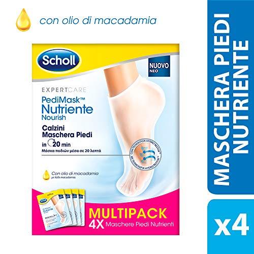 Scholl Pedimask Maschera Piedi Nutriente con Olio di Macadamia, 4 Paia di Calzini Idratanti