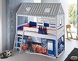 Hochbett Tom´s Hütte 2 Kinderbett Spielbett Bett Weiß Stoffset Cars