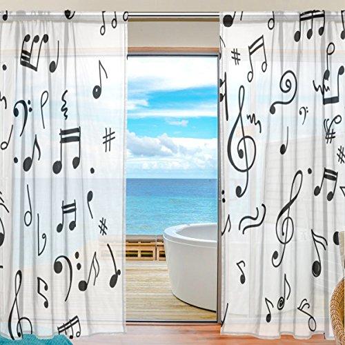 Bennigiry note musicali modello stampa poliestere tulle voile finestra tenda pura pannelli per camera da letto soggiorno decor trattamento drapes set, 139,7x 198,1cm, 2pannelli, 100 % poliestere, multicolor, 55x84x2(in)