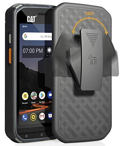 CAT S48c Hülle mit Clip, nakedphone Kickstand Cover mit [drehbar/ratsche] Gürtel Hüftholster Halter Combo für Caterpillar CAT S48c Handy (Verizon, Sprint, entsperrt), schwarz - Entsperrt Verizon Handys Von