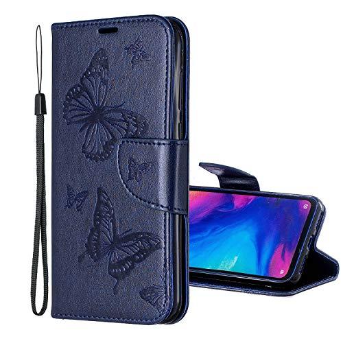 Nadoli Leder Hülle für Huawei P Smart Plus 2019,PU Leder Magnetverschluss Standfunktion Schmetterling Muster Brieftasche Schutzhülle Etui im Bookstyle für Huawei P Smart Plus 2019