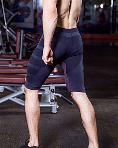 Uomo Alta Elastica Stirata Compressione Pantaloncini Palestra Sportivi Fitness Leggings Nero Rosso