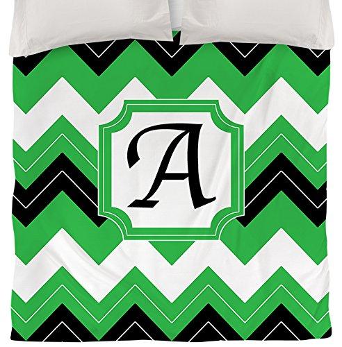 Manuelle holzverarbeiter & Weavers Bettbezug, Queen/Full, Monogramm Buchstabe A, schwarz Chevron (Chevron Und Tagesdecke Schwarz Weiß)