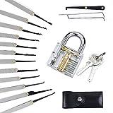 FomCCu Lot comprenant 1cadenas transparent/1paire de clés/12outils de crochetage Idéal pour s'entraîner à crocheter des serrures