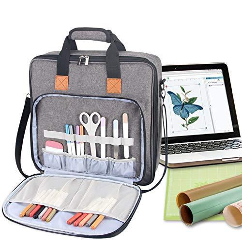 Luxja Aufbewahrungstasche für Silhouette Cameo 3 Zubehör und Laptop, Tragetasche für Cricut Zubehör (passend für die Meisten Marken), Grau