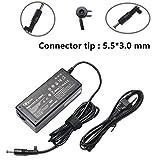 19V 3.16A 60W AC Adaptateur/Chargeur d'ordinateur Portable pour Samsung AD-6019R 0335A1960 CPA09-004A R580 R540E R540 R440I R480I R430I NP270E4E NP270E5E avec Cordon d'alimentation à 3 Broches